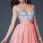 New Sequins&amp;Chiffon V-neck Above Knee Cocktail Prom Evening Dress
