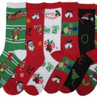 Amazon.com: Christmas Socks, Womens 12 Pair, Assorted Colors & Designs Size: 9-11: Clothing