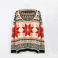 Women Retro Snowflake Jumper Loose Cardigan Pullover Sweater Scoop Neck Coat Top