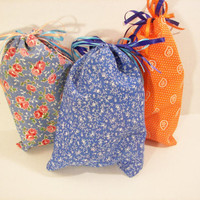 Fabric Gift Bags / Goodie Bags in Bandana and Paisley Country Prints, Set of 9 Bags 7 1/2 x 10 inches