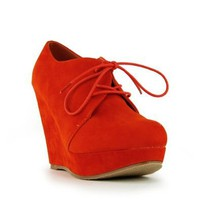 Amazon.com: Refresh Women&#x27;s Genesis-01 Orange Oxford Wedge: Shoes