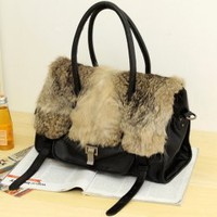 New Winter Style Gorgeous Black Fuzzy Handbags : Wholesaleclothing4u.com