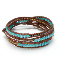 Turquoise Multi Leather Wrap Bracelet by Chan Luu on Gilt