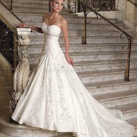 A-line Sweetheart Court Train Satin White Wedding Dress With Emboridery at Msdressy