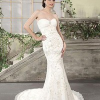 Trumpet/Mermaid Sweetheart Organza Sweep Train White Wedding Dresses With Emboridery at Msdressy
