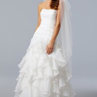 A-line Strapless Sweep Train Organza White Wedding Dress with Ruffles at Msdressy