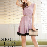 Sleeveless Lace  Causal Dress: tidestore.com