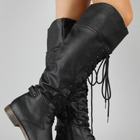 Cana-5 Round Toe Lace Up Military Boot