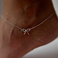 Sterling Silver Bow Anklet Delicate jewelry Sorority gift Girlfriend gift Wedding Gifts Shower Gifts