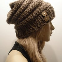 Toasty Warm Light Brown Beehive Slouchy Hand Knit Woodsy Beanie Hat With Wood Buttons