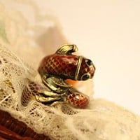 Vintage Bronze Fish Animal Cocktail Ring at Online Cheap Fashion Jewelry Store Gofavor