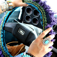 hippie hwy steering wheel cover - denim rick-rack | gypsyville
