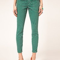 Current/Elliott Stiletto Skinny Jeans In Polka Dot Print at asos.com