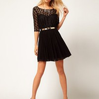 ASOS Skater Dress In Spot Lace &amp; Mesh Skirt at asos.com