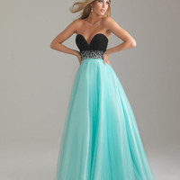 Water Blue &amp; Black Chiffon &amp; Tulle Deep Sweetheart Beaded Empire Waist Prom Gown - Unique Vintage