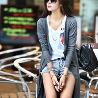 Hot Sale Irregular Design Gray Long Jackets : Wholesaleclothing4u.com