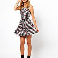 Glamorous Belted Skater Dress in Striped Bow Print at asos.com