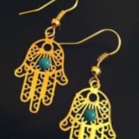 Hamsa Hand of God GOLD Earrings (Kaballah Evil Eye Unique Jewelry) | eBay