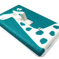 Emerald Turquoise with White Giraffe Light Switch Cover Home Decor Children Kids Wall Art Decoration Premier Prints Gisella 1081