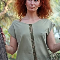 Holiday&#x27;s SALE- 20% OFF- Women blouse with lace stripe and open back, women T-shirt