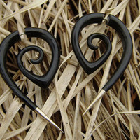 Fake gauge, Organic Black Horn ,Split Gauge Earrings &amp; sliver  Tribal