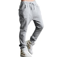 Men Casual Elastic Waist Baggy Straight Trousers Pants W32/34