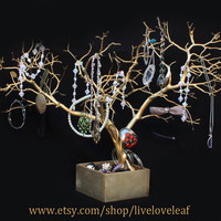 Gold Painted Manzanita Jewelry Tree, Unique Jewelry Display, Jewelry holder, Real Tree Branch Jewelry Organizer