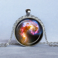 ASTRONOMY NECKLACE Colliding Galaxies Pendant Blue Red Pink Yellow Black Space Jewelry Star Galaxy Necklace