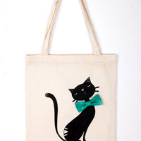 """Happy Bowtie"" Cat Totebag"