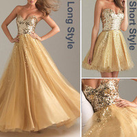Gold Evening Formal Prom Ball Gown Party Long Short Cocktail Bridesmaid Dresses