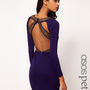 ASOS PETITE Exclusive Bodycon Dress With Strappy Embellished Back at asos.com