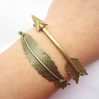 Combination bracelet---antique bronze arrow and feather pendant&alloy chain