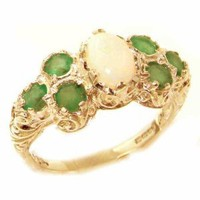 Solid English Yellow 9K Gold Womens Large Opal & Emerald Art Nouveau Ring - Finger Sizes 5 to 12 Available: Jewelry: Amazon.com