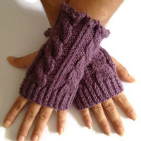 Fingerless Gloves Wrist Warmers in Purple Cable Handknit