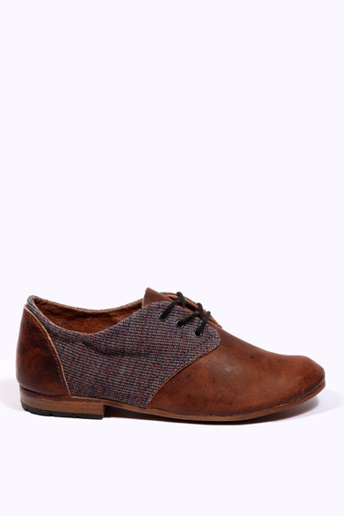 Urban Outfitters - Osborn Brown Cord &amp; Suede Oxford Shoes
