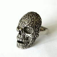 Sugar Skull Cocktail Ring in Oxidized Silver Tone White by mrd74