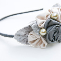 headband of rolled gray and pink roses by BeSomethingNew on Etsy