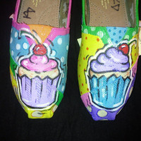 Price includes shoes. Cupcake  hand painted TOMS