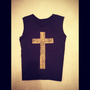 Leopard/Cheetah Cross Black Vest Beater-Style Shirt Top Indie Hipster