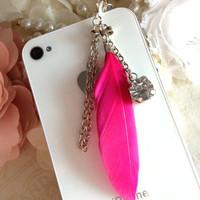 Hot Pink Feather Anti dust plug phone plug phone charm iPhone Blackberry Samsung Galaxy