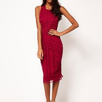 ASOS Midi Dress With Beading And Applique at asos.com