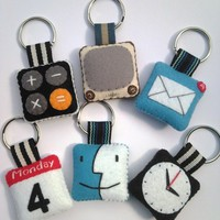 iPhone icon Felt Keychain  Set of 3  by rabbitrampage on Etsy