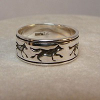 Five Wolves Sterling Silver Ring Available by Firefallstudios