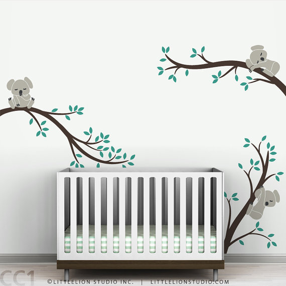 Nursery Wall Decal Koala Tree Branches by LeoLittleLion on Etsy