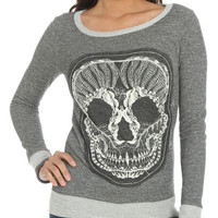 Applique Mesh Skull Sweatshirt | Shop Just Arrived at Wet Seal