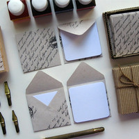 12 Mini Envelopes with Mini Note Cards  Recycled Paper by Ciaffi