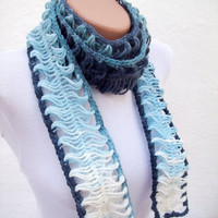 Hand crochet Lariat ScarfNew ScarfVariegated Yarn by nurlu on Etsy