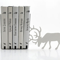 Bookends - Butting Deer One - laser cut for precision these metal bookends will hold your favorite books