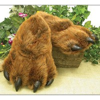 Grizzly Bear Paw Furry Slippers Keep Feet Warm in Winter - Adult size Large