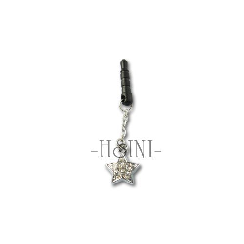 Silver Diamond Bling Gel Pentacle Headphone Plug Chram